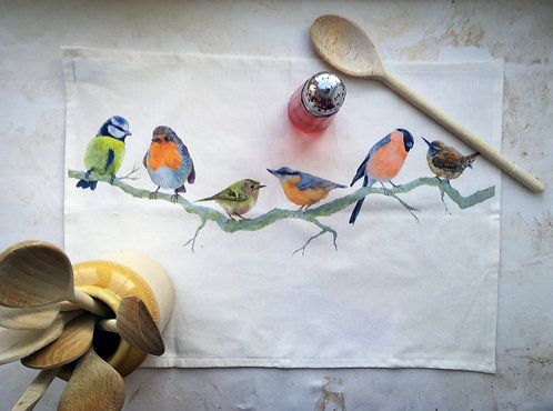 British Garden Birds Branch Tea Towel