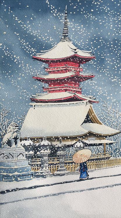 Snow at Toshugo in Ueno -Hasui Kawase (P)