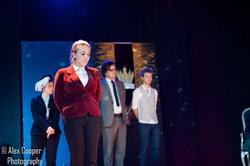 Eve Aspinall as Oswald, Emily Westaway as Burgundy, Fergus O'Loan as Cornwall, Frederick Zennor as E
