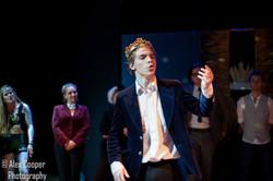 Magda Bird as The Fool, Emily Westaway as Burgundy, Toby Skelton as King Lear, Frederick Zennor as E