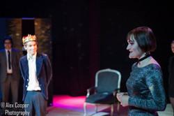 Fergus O'Loan as Cornwall, Toby Skelton as King Lear, Charlotte McEvoy as Regan