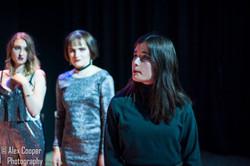 Rebecca Smith as Goneril, Charlotte McEvoy as Regan, Josephine Dowswell as Cordelia