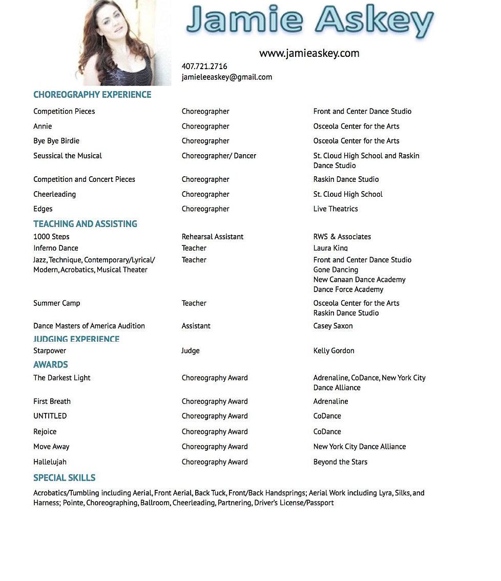 jamie askey choreography resume