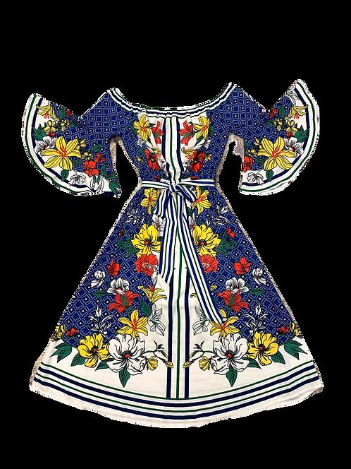 Mirrored Tulips Shoulder Dress