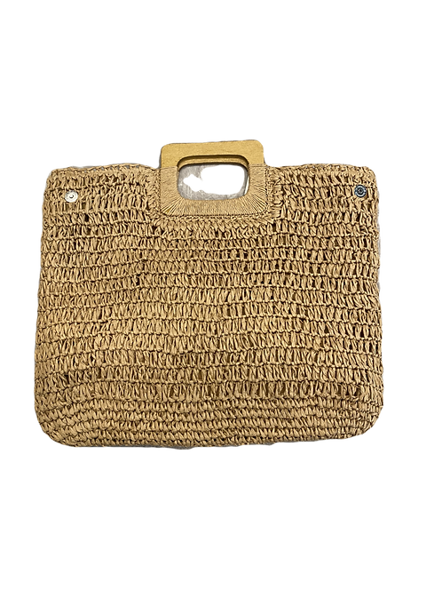 Wood handle straw bag