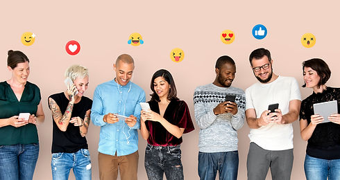 happy diverse people using digital devices emoticons