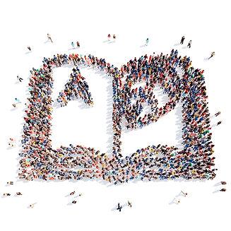 large group people form school alphabet