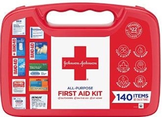 Johnson & Johnson All-Purpose First Aid Kit, Portable Compact First Aid Set for Minor Cuts, Scrapes.
