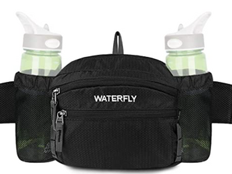 WATERFLY Fanny Pack with Water Bottle Holder Hiking Waist Packs for Walking Running Lumbar Pack fit