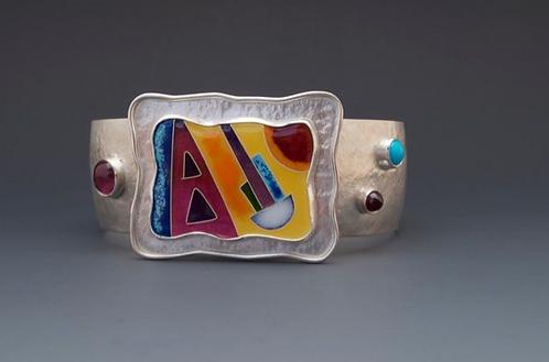 S.S. Enamel Cuff Bracelet