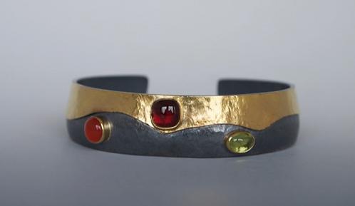 Gold and Oxidized Sterling Bracelet