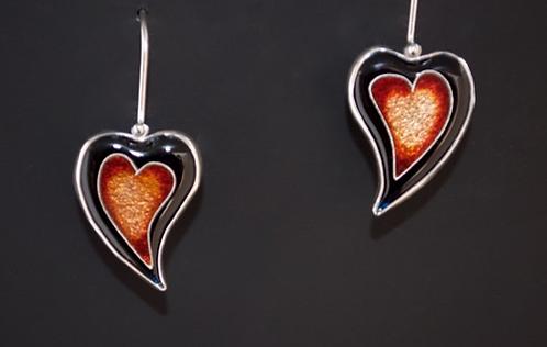 Heart Earrings, Orange/SOLD