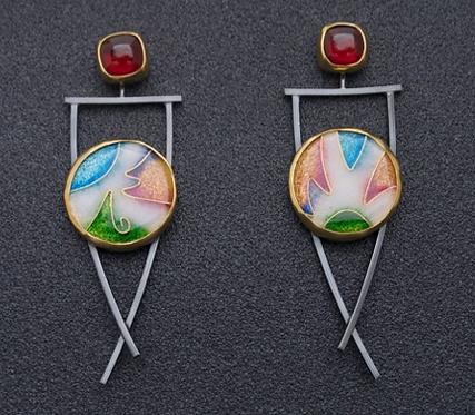 Earrings, Garnet