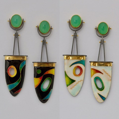Reversible Enamel Earrings
