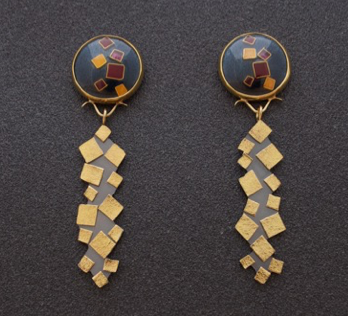 Enamel Earrings with 22k Gold