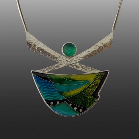 Enamel necklace with Peruvian Opal