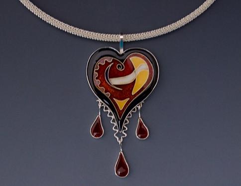 Heart Pendant, Teardrops/SOLD