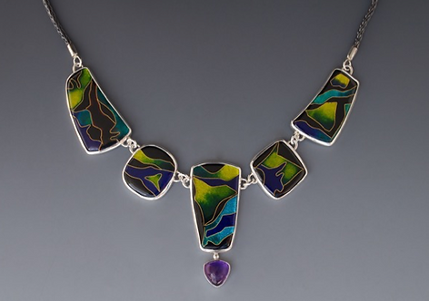 Enamel Necklace with Amethyst