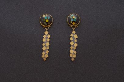 Black Blue Green Enamel Earrings w/ 22K Gold