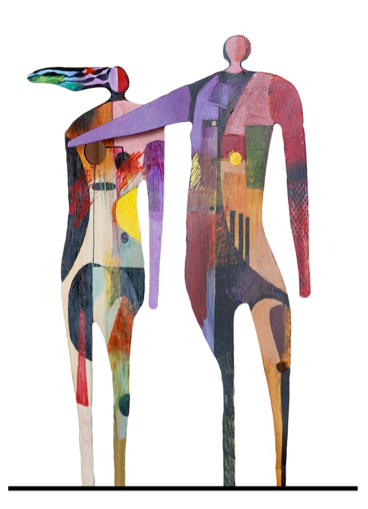 """Man & Woman Painted Sculpture"""