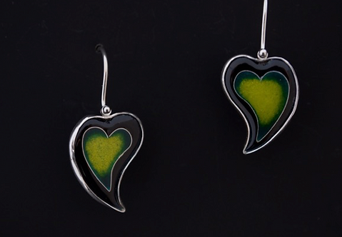 Heart Earrings, Green/SOLD