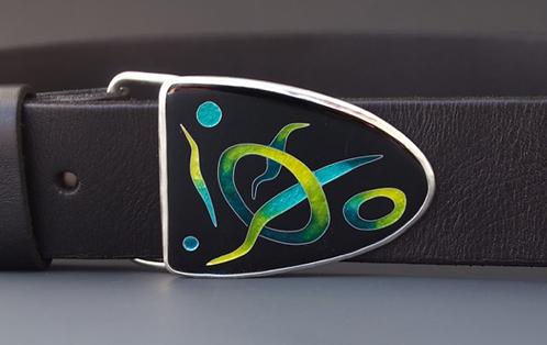 Leather Belt & Enamel Buckle