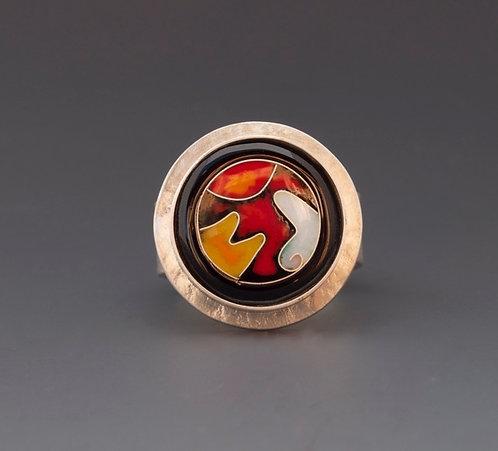 Enamel Ring: Black, Red & Orange