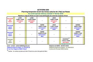 Organisation pour les entrainements suite à la fermeture de la piscine