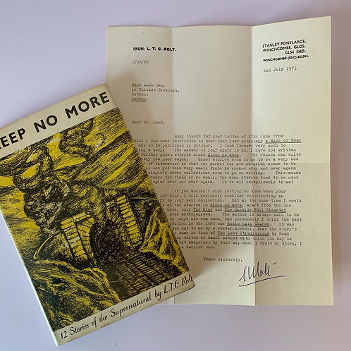 Sleep No More by R T C Rolt + Signed Letter to Hugh Lamb (Editor)