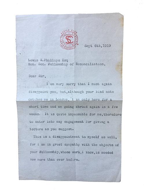 Algernon Blackwood, Hand Signed Letter on Savile Club Notepaper