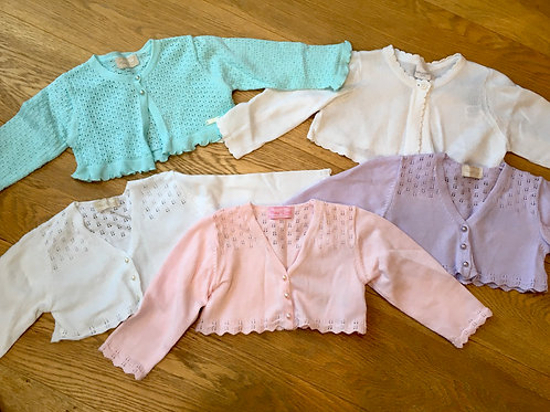 5 cropped cardigans, age 6-9 months