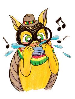 Armadillo with Harmonica