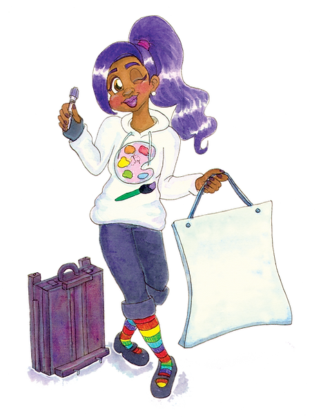 Girl with purple hair wearing a hoodie, capris, rainbow socks holding sign, pen, and near art easel