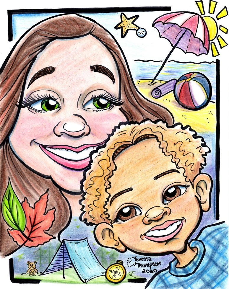 Mommy and Son Caricature
