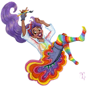 Purple haired girl with hoodie, tutu, shorts, rainbow socks; holding a pencil and paint brush