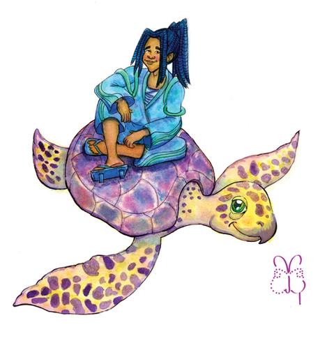 Urashima Taro and Sea Turtle