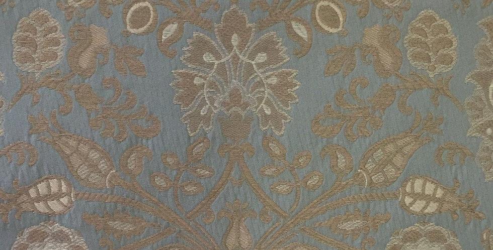 Aqua Blue and Taupe Floral
