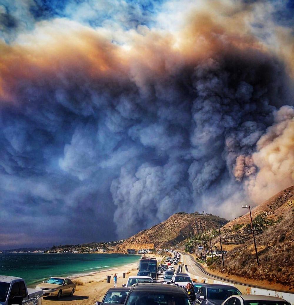 Woolsey fire evacuees Nov. 9 2018. Photo via Instagram
