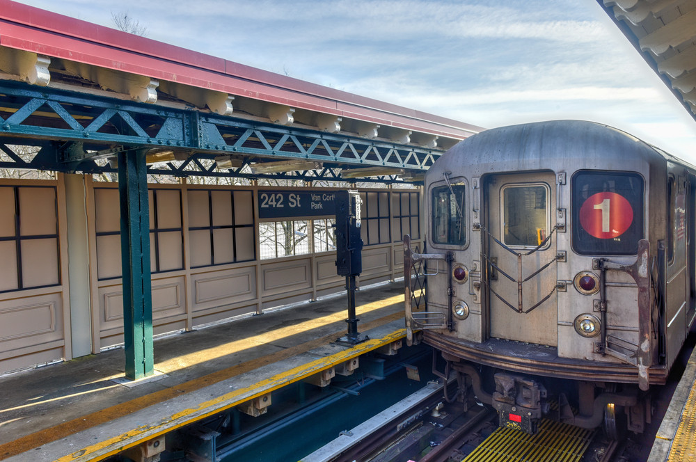 NYC 1 train at a station in Bronx, NY