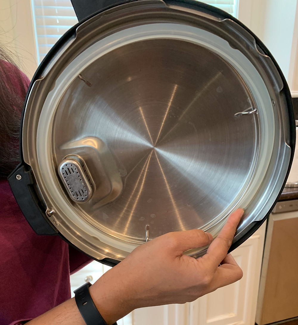 Pressure cooker gasket is a silicone ring that fits into the lid, creating a tight seal.