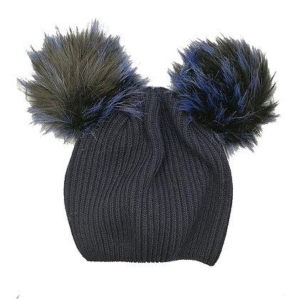 Cappello pon pon blu