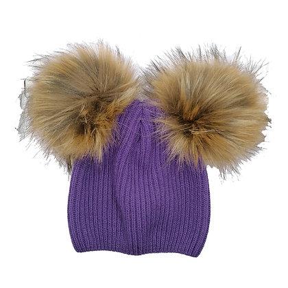 Cappello pon pon viola