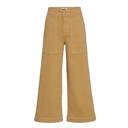 Pantalone denim giallo senape gamba larga