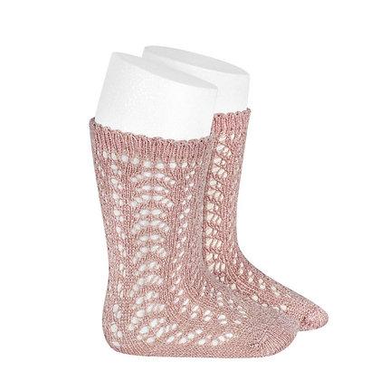 Calza al ginocchio traforata glitter rosa antico