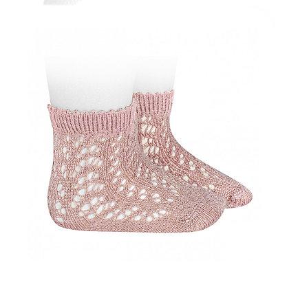 Calzino traforato glitter rosa antico