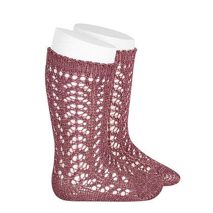 Calza al ginocchio traforata glitter rosa