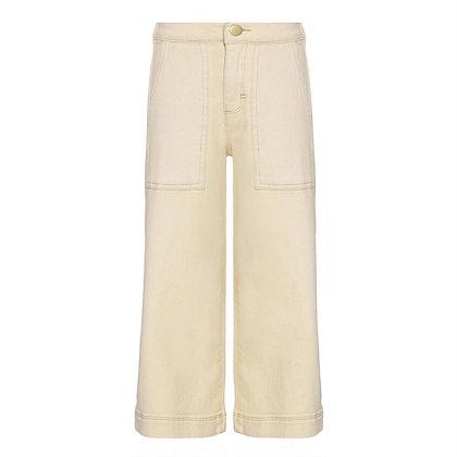Pantalone denim crema gamba larga