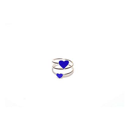 Anello cuore doppio blu