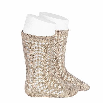 Calza al ginocchio traforata glitter beige