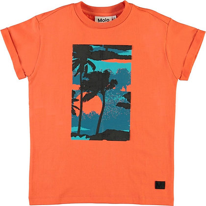 T-shirt arancio stampa palme